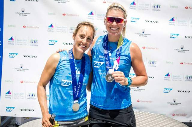 World Sailing Silver for  RIYC sailor Saskia Tidey (right) with new sailing partner Charlotte Dobson who are campaigning to represent Team GB in the 49erFX class in Tokyo