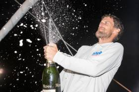 Meilhat celebrating his biggest win to date on the dock in Guadeloupe