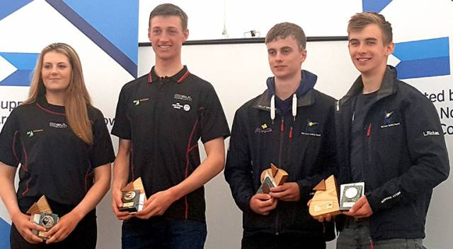 Top scorers at the Youth Pathway Nationals at Ballyholme last weekend in the Laser Radials were (left to right) Sally Bell (Royal North of Ireland YC) first girl and 11th overall, Ewan McMahon (Howth YC), first overall, Conor Quinn (Rush SC & CLYC) second overall, and Aaron Rogers (Rush SC) third overall.