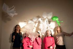 Aoife Deane UCC and Sara Mackeown Port of Cork with Caomihe Mc Sweeney, Emily Rose and Caoimhe Ni Bheara of Scoil Bhríde Crosshaven Co Cork pictured with their 'Bloom of Plastic Jelly Fish'