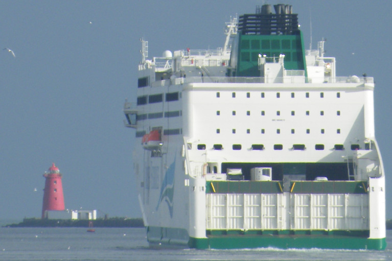 Covid crisis hits ferry company (owners ICG) as freight volumes also decline. Above AFLOAT's photo of Irish Ferries 'flagship' cruiseferry W.B. Yeats departing Dublin Port.