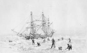 Engraving after a drawing by Capt George Back of HMS Terror town up by polar ice