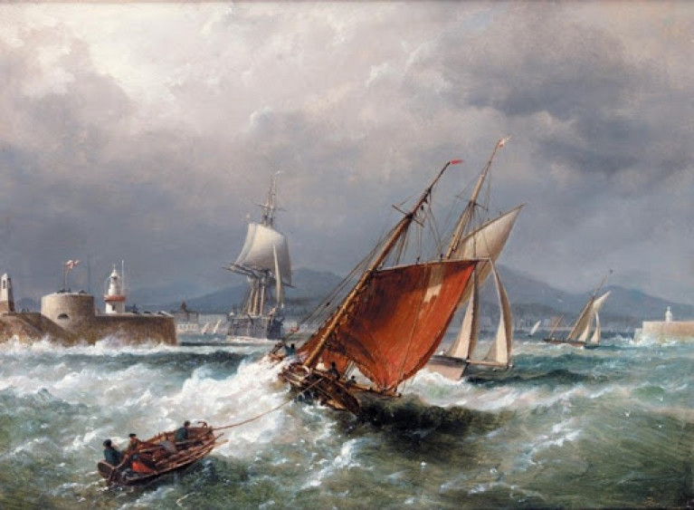 Busy times in the great days of sail at the entrance to Dun Laoghaire (Kingstown) Harbour in a fresh to strong east sou'east wind, as painted by Admiral Richard Brydges Beechey, with a working cutter towing a hobblers' boat entering as two yachts leave, while a stately naval man o' war comes down the harbour, setting sail as she goes.