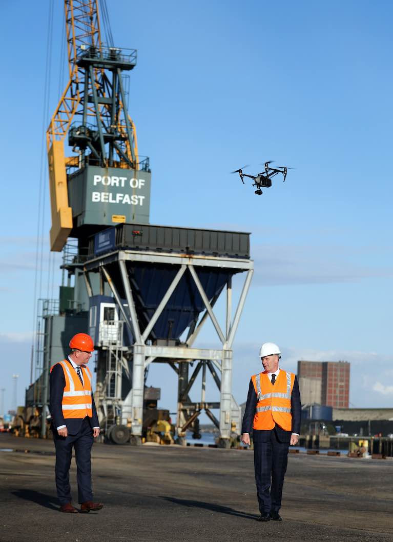 Picture shows: (L-R) Paul Murnaghan, Regional Director for BT's Enterprise division in Northern Ireland and Joe O'Neill, Chief Executive of Belfast Harbour with 5G remote controlled inspection technology, which will improve productivity and safety measures by reducing the need for staff to work at height.