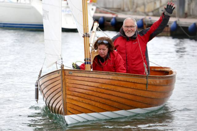 Hal Sisk and Sue Westrup in the Water Wag Good Hope depart from the Royal Irish Yacht Club slipway