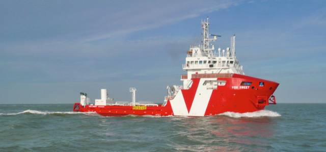 The VOS Sweet is conducting surveys off East Cork for the Celtic Interconnector project