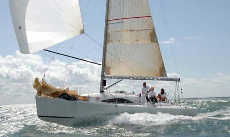 A French-built Archambault A31 racing under spinnaker. An A31 will race in Class Two DBSC this season