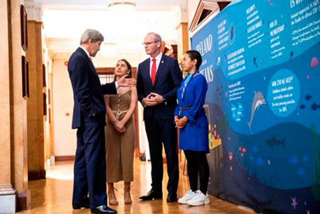 John Kerry, Alicia O'Sullivan, Simon Coveney and Selina Neirok Leem in discussions at the Our Ocean Wealth Summit 2019 in Cork