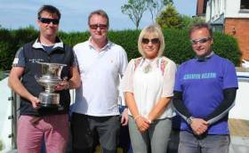 Squib winners (left to right) Ross Nolan, Bob Stinson (RNIYC), Paula Lyttle of Sponsor Rodgers and Browne and Gordon Patterson