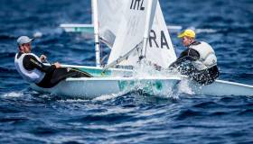Ireland's Finn Lynch leads Robert Scheidt in Palma this week. The  famous Brazilian sailor, has won two gold medals, two silver medals and a bronze from five Olympic Games. Scheidt finished 12th overall after today's fleet races with Lynch in sixth and qualifying for the top ten medal race tomorrow