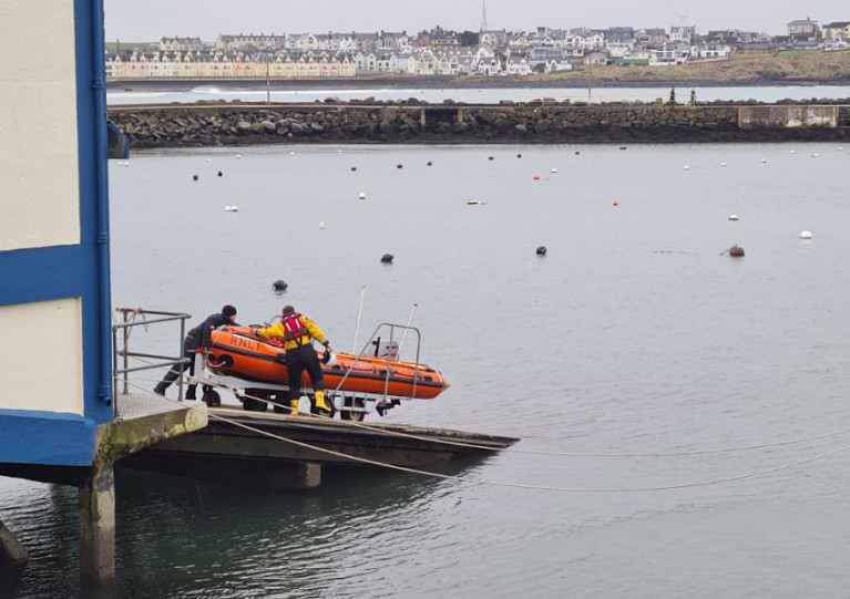 Portrush RNLI's inshore lifeboat preparing to launch