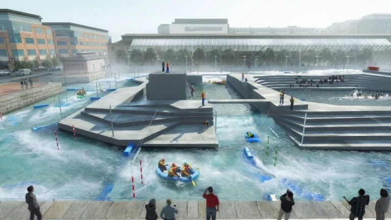 Artist's impression of the white-water rafting centre proposed for George's Dock