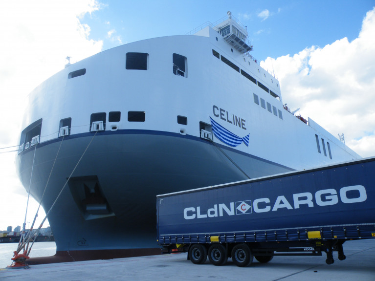 Shipping line CLdN says it has 'contingencies' for UK 'landbridge' delays in a hard Brexit. Above AFLOAT's photo taken in 2018 on the day of the naming ceremony of CLdN's ro-ro freight ferry MV Celine, the world's largest short-sea ro-ro of its type which runs out of Dublin Port. On the occasion Afloat took a visit to the bridge from where the following information was sourced in terms of capacity.  In total there is 7,972 lane freight metres, cars (all decks) 3,795 and a capacity for 503 trucks. Parked on Ocean Pier is a 'staged' truck trailer.