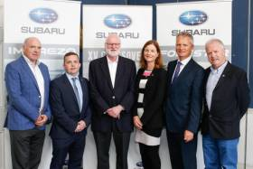 From left: Flying Fifteen president Chris Doorly, Subaru Ireland director Sean Dunne, Dun Laoghaire Harbour Master Simon Coate, National Yacht Club's Susan Spain, event chairman Niall Meagher and NYC Commodore Ronan Beirne