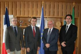 Thomas Furey, INFOMAR; Stephane Crouzat, Ambassador of France in Ireland; Dr Paul Commolly, Marine Institute; and Attaché for Science and Technology Marc Daumas visit the Marine Institute Headquarters in Oranmore on Thursday 14 March