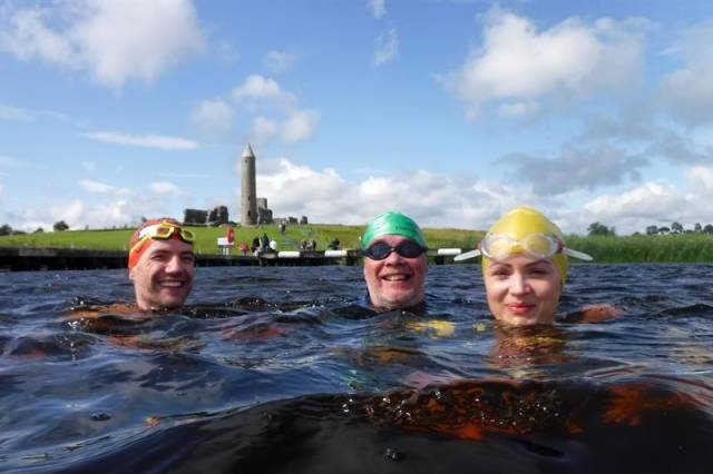 Some of the swimmers taking part in tomorrow's big swim on Lough Erne