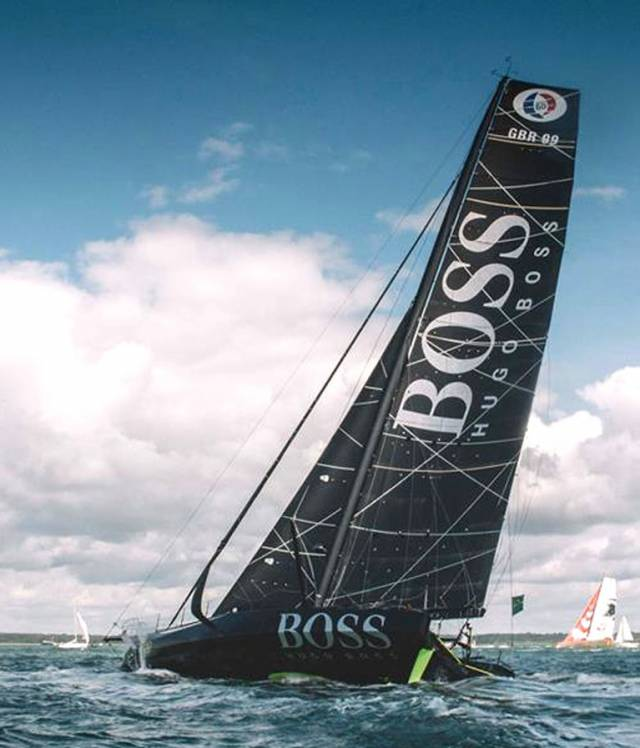 Hugo Boss at the start of the Fastnet Race on Sunday, little thinking they would have to beat every inch of the way to the Rock