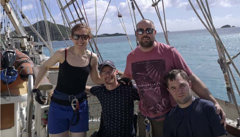 Onboard STS Tenacious in Antigua: (left to right) Aileen Kelleher, Daniel Wilson, Andy Saunders and Mike Oughton.