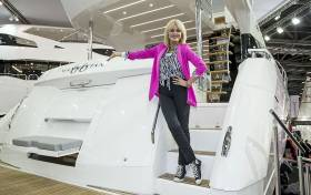 Actress Joanna Lumley OBE opens the Sunseeker stand at the London Boat Show 2017, Excel, London.