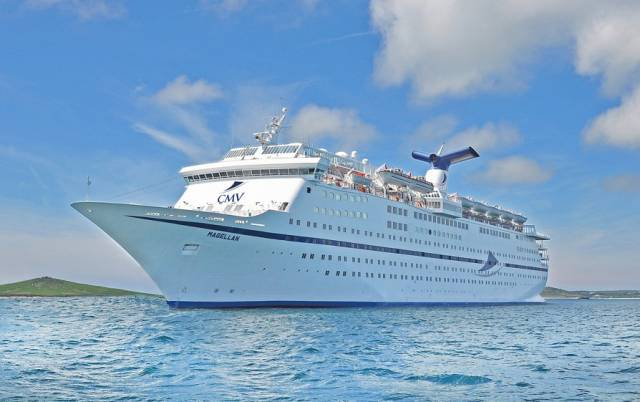 CMV' Magellan this weekend berthed at the south Wales port of Newport where the cruiseship is to be used to accommodate visitors for the Champions League Final.