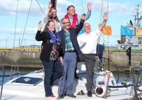 Noel Grealish, Independent TD for Galway West with event Chairperson Martin Breen and members of the ICRA/WIORA organising committee on board J109 Joie De Vie, Galway's Class One challenger in this year's ICRA National Championships