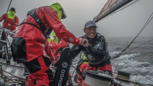 Horace grinding hard a few hours after the start on board Dongfeng Race Team, Sunday 20 May