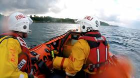 Larne RNLI's crew launching their inshore lifeboat Terry