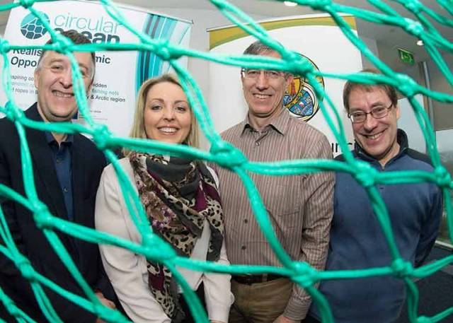 At the Circular Ocean Workshop at Vertigo, Cork County Hall were (left to right): Sean O'Sullivan, South Cork Local Enterprise Office, Michelle Green, Macroom-E, Laurent Bontoux, EU Policy Lab and Martin Charter, Centre for Sustainable Design, UK