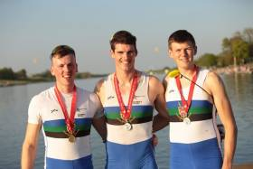 Tiernan Oliver, Philip Doyle and Nathan Hull show off their medals.