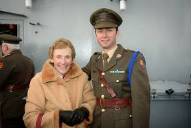 The late Claire Bateman with Commandant Ian Travers from Kinsale in March at the launch of Volvo Cork Week 2016 aboard LE Roisin in Cork Harbour. This was one of Claire's last assignments for Afloat.ie.