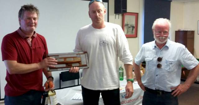 Brian Willis (left) and Alan McClernon (centre) (CASC) won the Flying Fifteen Northern Championships at Lough Neagh