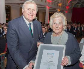 Carmel Winkelmann, Dun Laoghaire receives the President's Award from Jack Roy, President Irish Sailing at the Volvo Irish Sailing Awards 2018