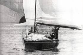 Blast from the past. It's August 1980, and the magic Half Tonner Swuzzlebubble (Bruce Lyster, RStGYC) is trickling towards the finish of the ISORA Pwllheli-Howth race which she won overall to confirm her as ISORA Champion 1980. She also won ISORA Week 1980, and her class in Cowes Week 1980. Crew on board are (left to right) Bruce Lyster, Robert Dix on helm, Michael Rowan, Drewry Pearson (white hat), and Des Cummins