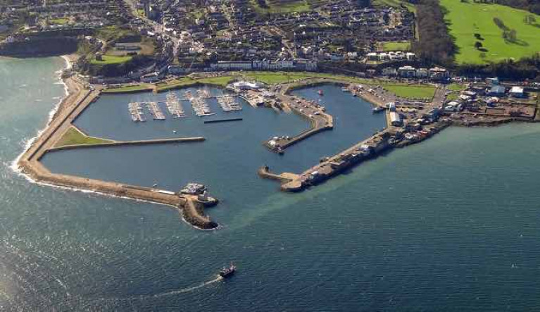 Howth Harbour from the north. The new quay wall will be constructed on the west side of the Middle Pier (just right of the centre of photo) to create an extra 135 metres of berthing space.