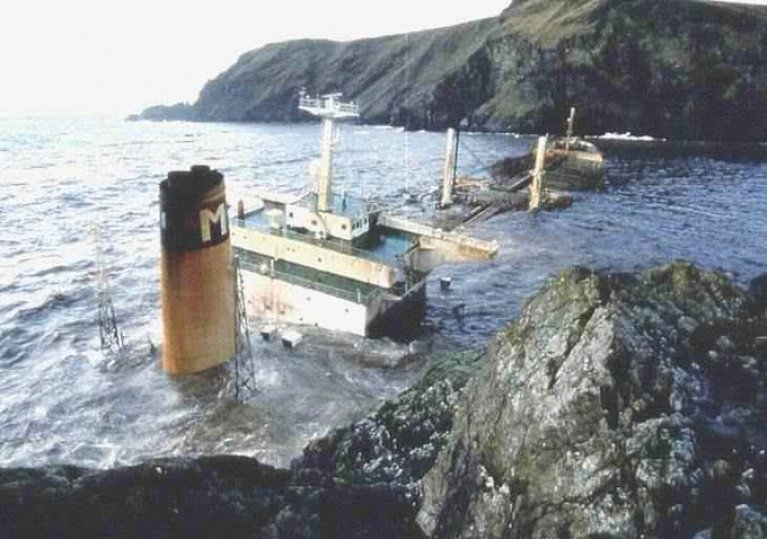 The crude oil tanker Braer during a storm in 1993 foundered in the Shetlands Isles off Scotland spilling almost  85,000 tonnes. The disaster was one of the major oil spills in history and is ranked the 15th worst out of 20 indicents in terms of oil spill size tonnes according to the ITOPF's Oil Tanker Spill Statistis 2019 - see download link below. As for above the tanker is seen at Garths Ness where it broke-up on the rocky shore.