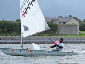 Richard Hayes sailing solo on his round-Ireland Laser
