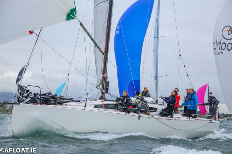 "Getting on a head of steam. Rockabill Vi (Paul O'Higgins, RIYC) starting to find the strengthening fair wind in the early stages of the 2019 Volvo Dun Laoghaire to Dingle Race. Already the defending champion after winning in 2017, she held on to her title in Dingle, and was also ISORA Champion and ICRA ""Boat of the Year"", while her owner-skipper became 2019 Sailor of the Year"