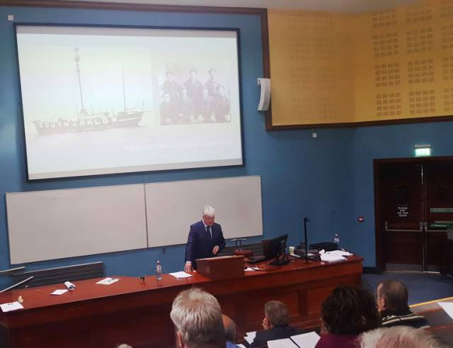 Dr.Michael Kennedy speaking to the UCC conference about the South Arklow lighthship