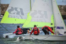 RS Feva dinghy racing at Dun Laoghaire Harbour