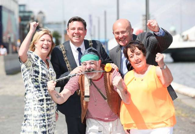 Pictured enjoying the official launch of the annual South Docks Festival were Lisa Kelleher, coordinator at St Andrew's Resource Centre, Paul McAuliffe, Lord Mayor of Dublin and Honorary Admiral of Dublin Port, Clown Johnie K (front), Dolores Wilson, chairperson of St Andrew's Resource Centre South Docks Festival, and Eamonn O'Reilly, Chief Executive of Dublin Port Company.