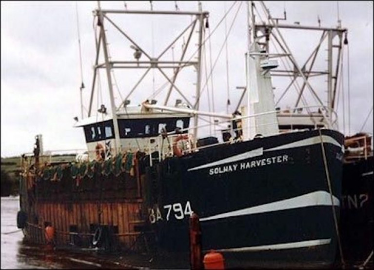 Seven men died when their dredger, the Solway Harvester, was caught in a storm off the Scottish coast on January 11th, 2000.