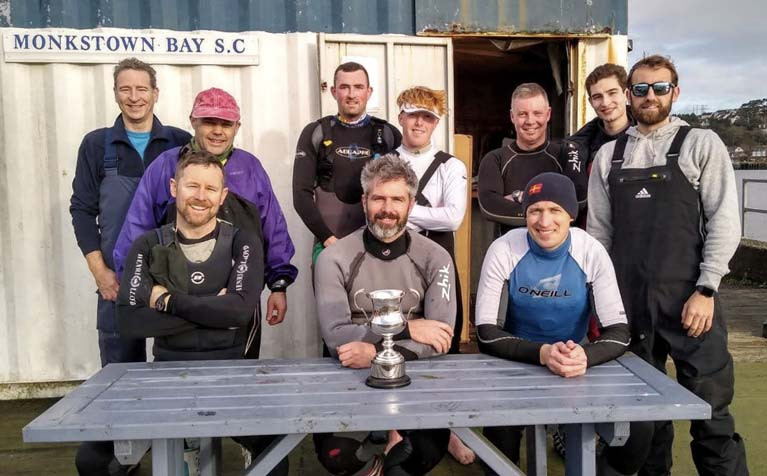 Monkstown Bay Laser sailors - (from left to right)  Alan Fehily, Philip Doherty, Ronan Kenneally, William O'Brien, Paul O'Sullivan, Chris Bateman, James Long, Charles Dwyer, Luke Fehily and Richie Harrington