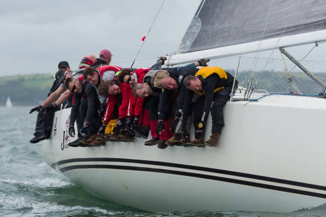 Hung out to dry? On the contrary, this is just expiring with laughter aboard Joker II as John Maybury's J/109 powers along to a couple of wins on Day One of the ICRA Nats at Crosshaven