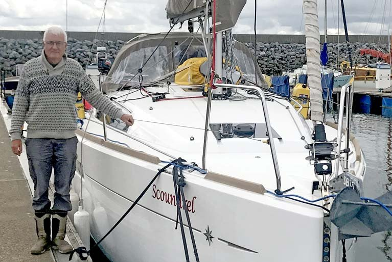 Author Dublin Bay sailor John Latham and Scoundrel at Fenit Marina in County Kerry