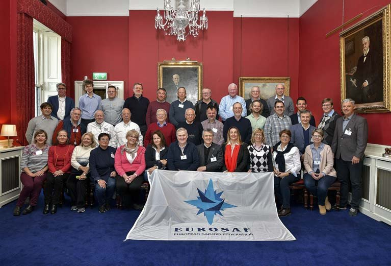 EUROSAF race officers are gathered at the Royal Irish Yacht Club in Dun Laoghaire for a Race Officials Conference hosted by Irish Sailing President  Jack Roy (pictured seated centre)