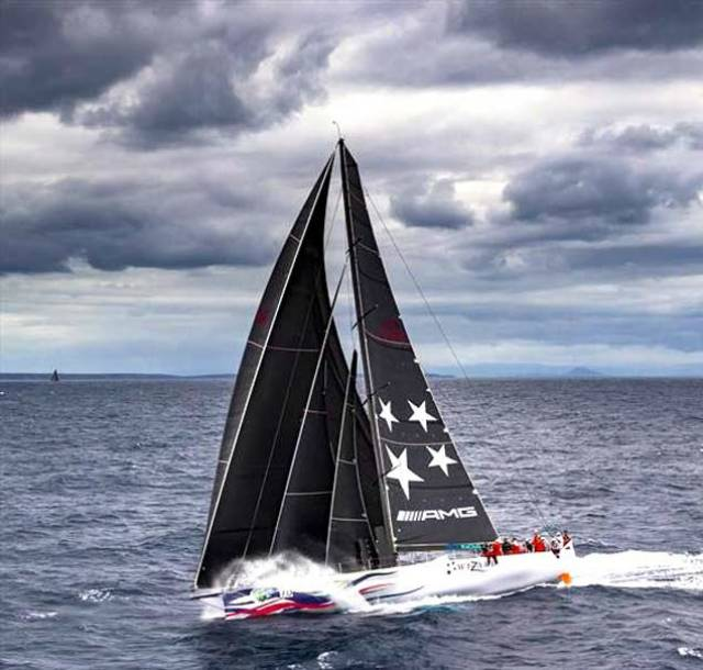 The Juan K-designed Volvo 70 Wizard, overall winner of the Rolex Fastnet Race 2019