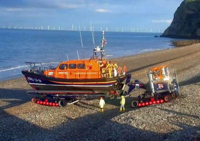 Llandudno's Shannon class lifeboat prepares to assist in the search yesterday