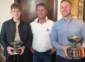 MBSC winner - (from left to right): Harry Pritchard, Class 2 winner at Monkstown Bay Sailing Club; Ciaran McSweeney, Commodore MBSC and Ronan Kenneally, Class 1 winner