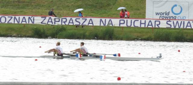 France, the winners of their heat in the lightweight men's double in Poznan