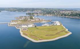 The East Tip of Haulbowline Island in Cork Harbour won the Engineers Ireland National Engineering Project of the Year 2019. The Mayor of Cork thanked all involved in the remarkable transformation of the former industrial site and all who voted.  Adjacent to the project site is the Irish Naval Service (headquarters) and basin where several patrol vessels are berthed.